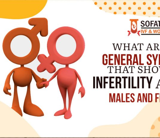 What are the general symptoms that showcase infertility among males and females?