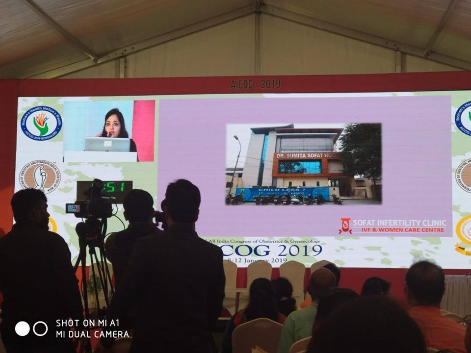Dr. Sumita Sofat giving a speech at 62nd All India Congress of Obstetrics & Gynaecology – AICOG 2019