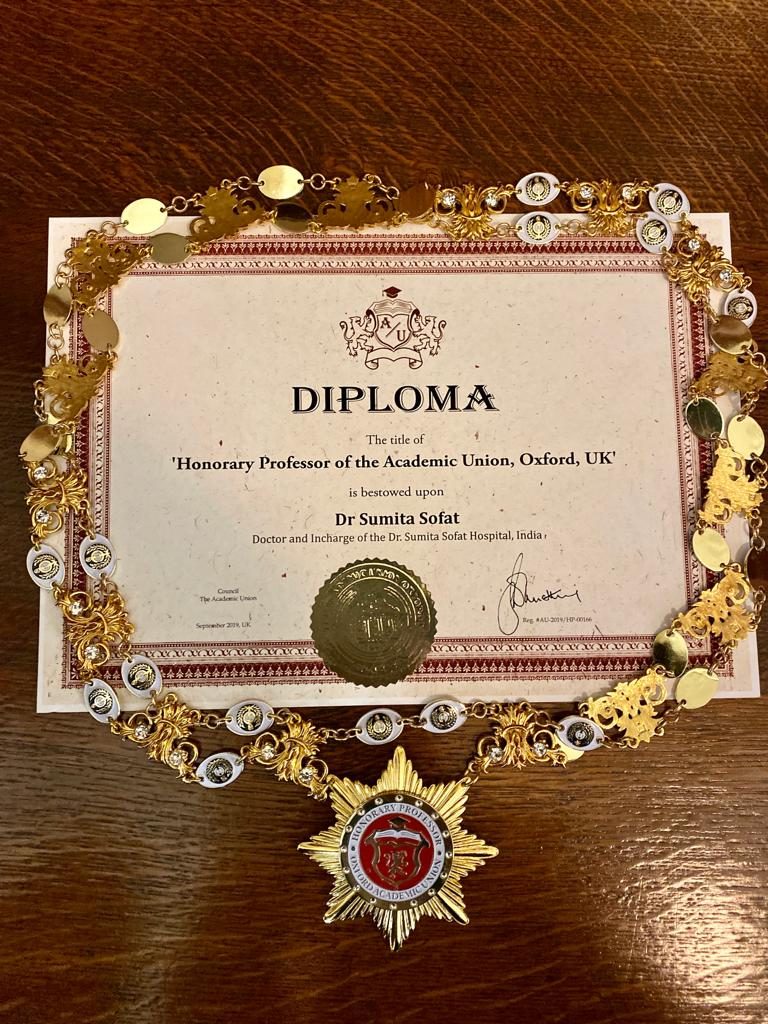 Dr. Sumita Sofat's Diploma Certificate – Honorary Professor Of Academic Union By Oxford England